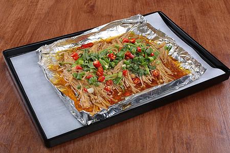 锡纸金针菇 烧烤 辣椒 烧烤 撸串 菜谱 美食 美味 高清大图图片