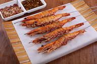 烤大虾 虾 九节虾    烧烤 撸串 菜谱 美食 美味 高清 大图图片