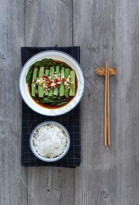 米饭豆角青菜图片