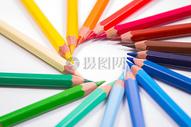 圆形彩色铅笔图片