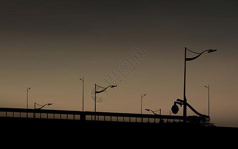 夕阳下的路灯图片