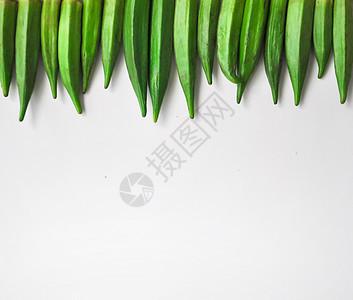 秋葵白色背景摆拍图片