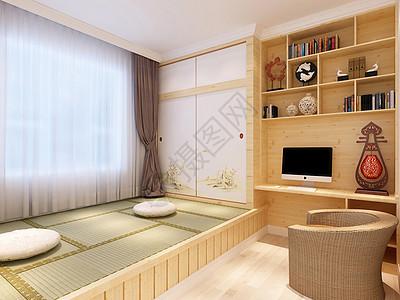 日式家居床榻榻米背景墙效果图图片