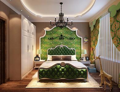 简欧装饰的卧室效果图图片