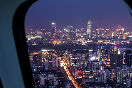飞机窗外美丽夜景图片
