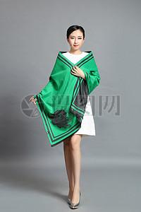 丝巾模特绿色图片