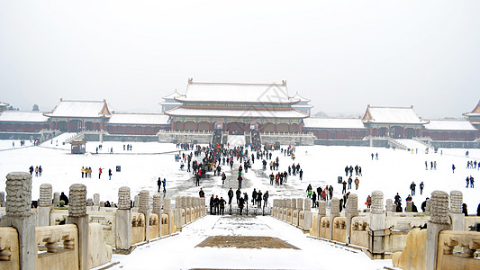 北京雪后故宫图片
