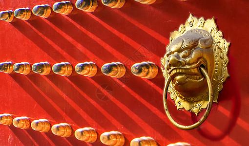 北京故宫宫门狮子头图片