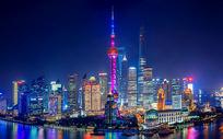 航拍上海城市夜景陆家嘴核心风光1图片