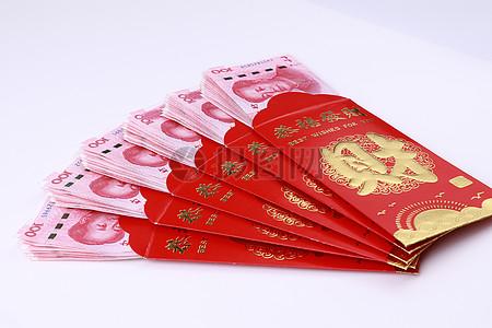 包着100元人民币的红包图片