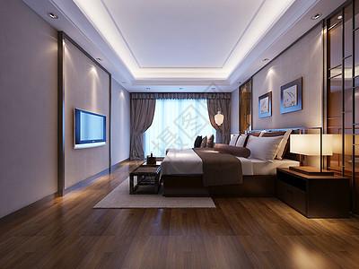 主卧室3D效果图图片