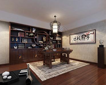 新中式书房效果图图片