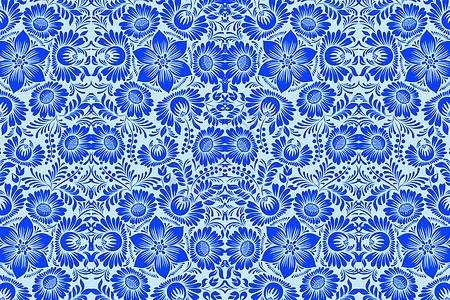 蓝色花纹布料图案图片