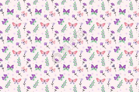 淡粉色蝴蝶树叶纹理图案设计图片