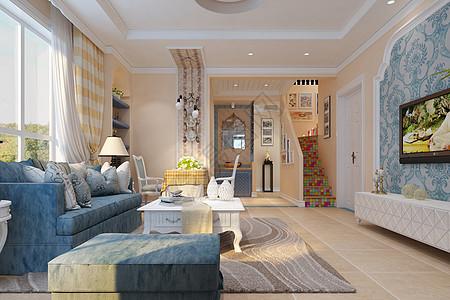 地中海风格的客厅效果图图片