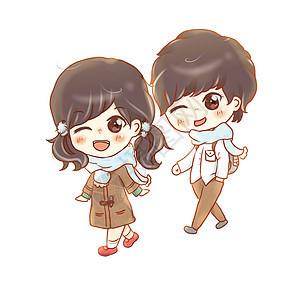 手绘七夕情人节可爱情侣插画图片