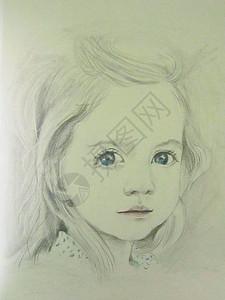 小女孩素描图片
