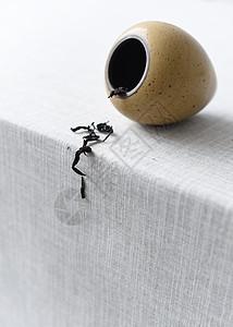茶叶罐中倒出的茶叶图片