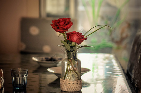 餐桌上的花图片