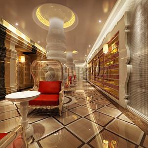 欧式长廊效果图图片