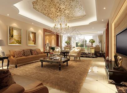 大气的欧式客厅效果图图片