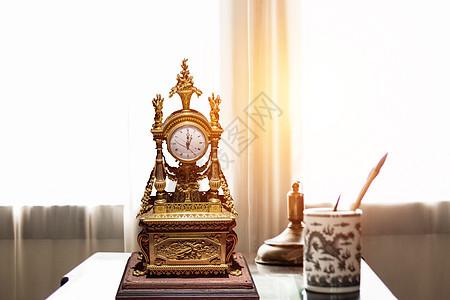 创意 欧式 复古 时钟 书房摆件图片