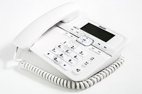 白色的座机电话图片