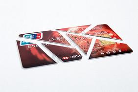 剪开的信用卡图片