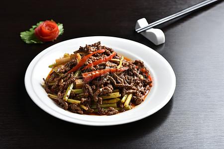 芹菜炒牛肉 川味菜肴 川菜拍摄图片