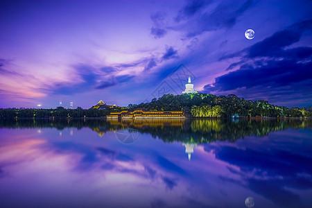 城市圆月湖面夜景背景图片