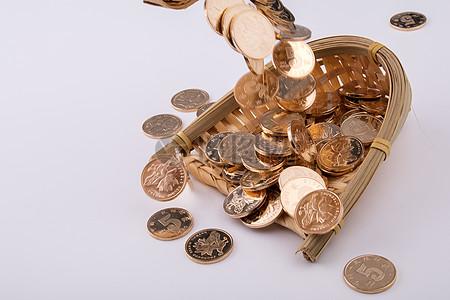 商业金融硬币摆拍图片