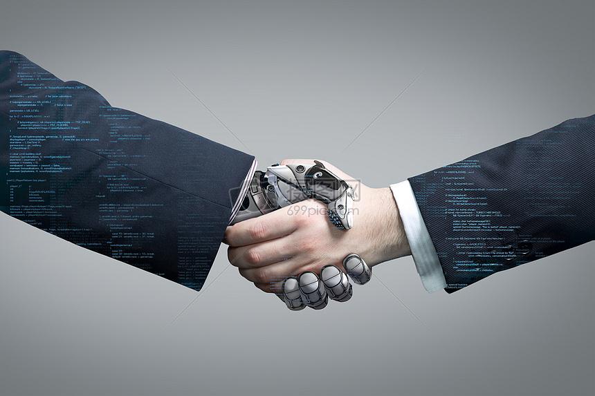 人工智能机械手握手图片