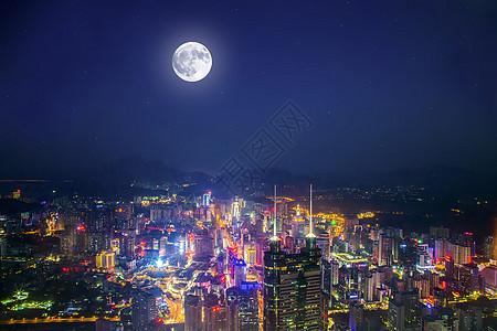 深圳中秋城市圆月背景图片