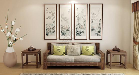 中式布艺沙发图片