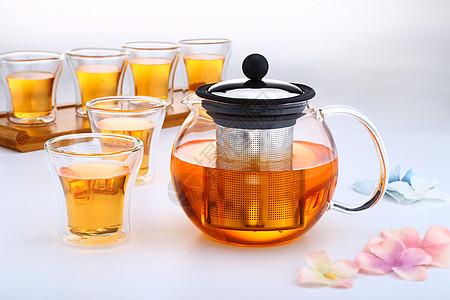 不锈钢茶漏的玻璃茶壶和玻璃杯图片