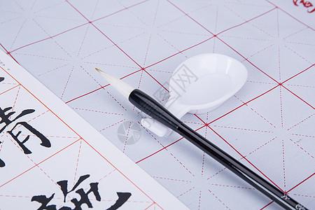 教育知识毛笔练字学习场景图片