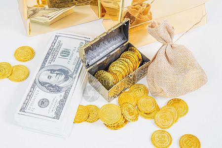 财富富有美元金币储蓄图片