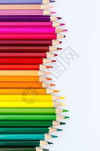 教育设计彩虹铅笔平铺创意拍摄图片