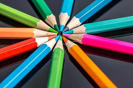 设计铅笔环形平铺创意拍摄图片