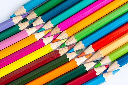 教育设计彩色铅笔平铺创意拍摄图片