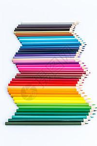 教育设计铅笔彩虹渐变平铺创意拍摄图片