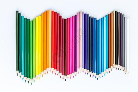 教育设计铅笔平铺波浪形拍摄图片