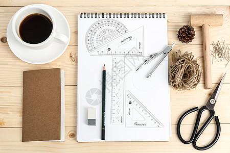 创意学习办公桌面文具摆拍图片