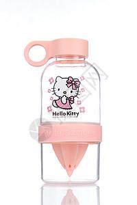 KT猫粉色玻璃杯图片