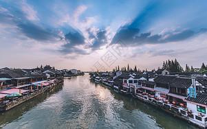 日落云彩朱家角古镇拱桥图片