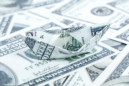 纸币折叠纸船手工艺财富图片