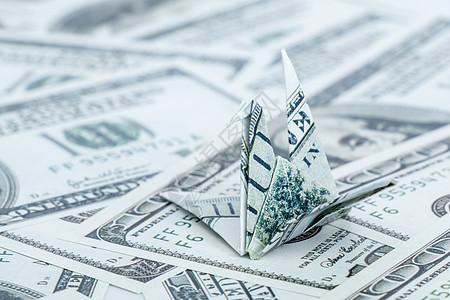 纸币折叠千纸鹤手工艺货币图片