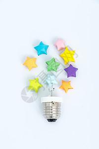 彩色星星手工艺灯泡创意图片