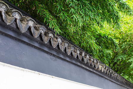竹叶白墙青瓦背景图片