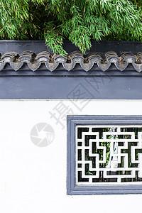 竹叶白墙青瓦漏窗图片
